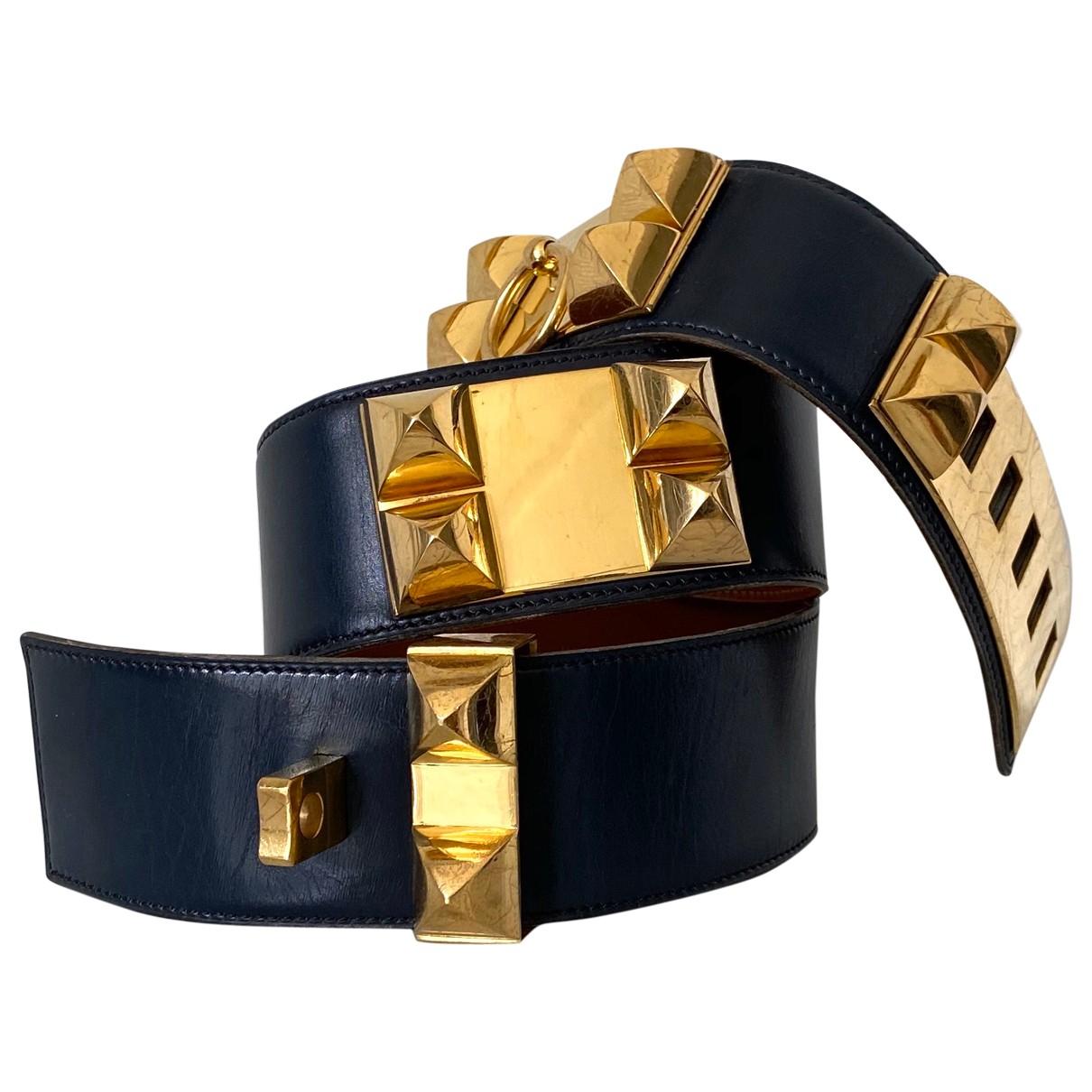 Hermès Collier de chien Navy Leather belt for Women 70 cm