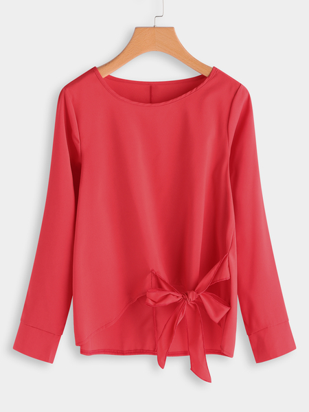 Yoins Red Plain Bowknot Design Round Neck Long Sleeves Blouses