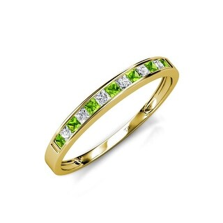TriJewels Peridot Diamond 13 Stone Channel Set Wedding Band 14K Gold (Peridot - Yellow - 7.25)