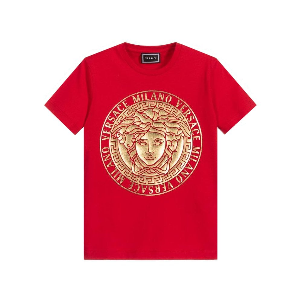 Versace Logo T-shirt Colour: RED, Size: 4 YEARS