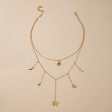 1 Stueck Mehrschichtige Halskette mit Schmetterling Anhaenger