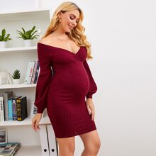 Maternity Off Shoulder Lantern Sleeve Bodycon Dress