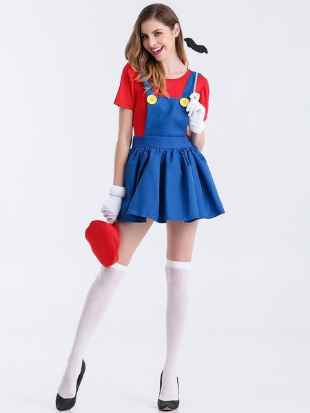 Milanoo Super Mario Bros Mario Cosplay Costume Halloween Two Piece Set With Hat Mustache Waluigi Costume