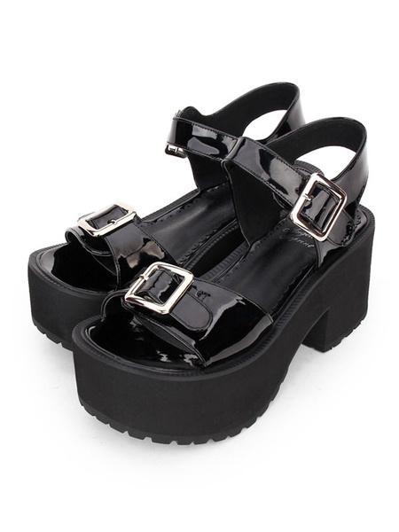 Milanoo Gothic Lolita Sandals Grommet Metallic Buckle PU Black Lolita Shoes