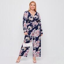 Culotte Jumpsuit mit Blumen Muster und Selbstband