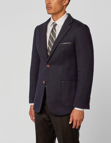 Men's Navy  Notch Lapel Double Vent Two Piece Montana Jacket