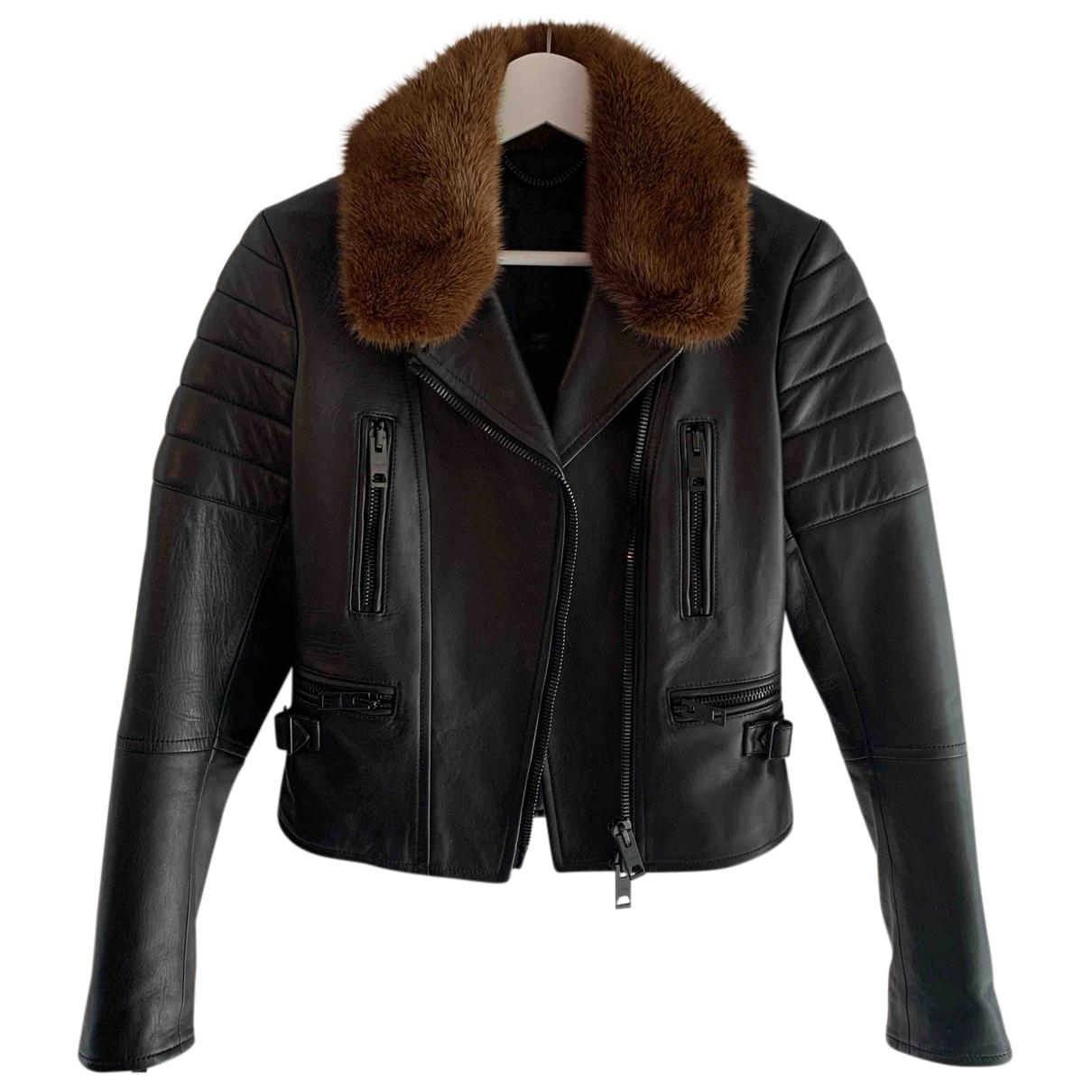 Burberry - Veste   pour femme en cuir - noir