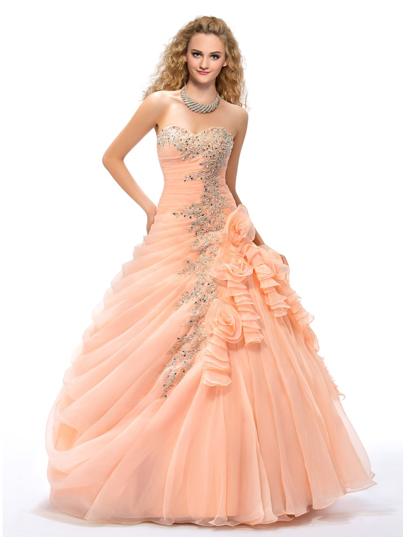 Ball Gown Appliques Flowers Floor-length Quinceanera Dress