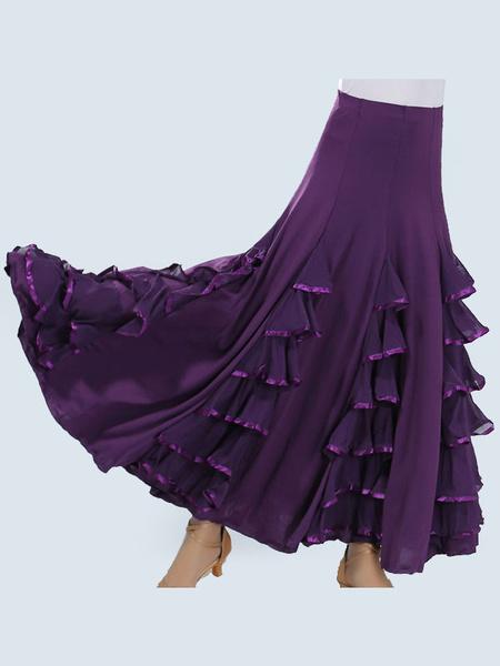 Milanoo Ballroom Dance Costumes Layered Ruffle Long Skirt Women Dance Dress