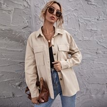Drop Shoulder Flap Pocket Coat
