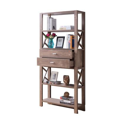 BM200687 Wooden Bookcase with Four Open Shelves and Two Drawers