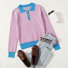 Pullover mit Kontrast Saum, Knopfen vorn und Streifen