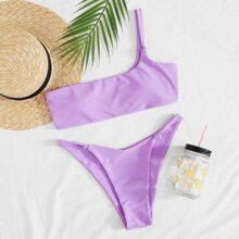 Bikini Badeanzug mit Knoten Detail und einer Schulter