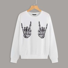 Sweatshirt mit Skelett Hand Muster und sehr tief angesetzter Schulterpartie
