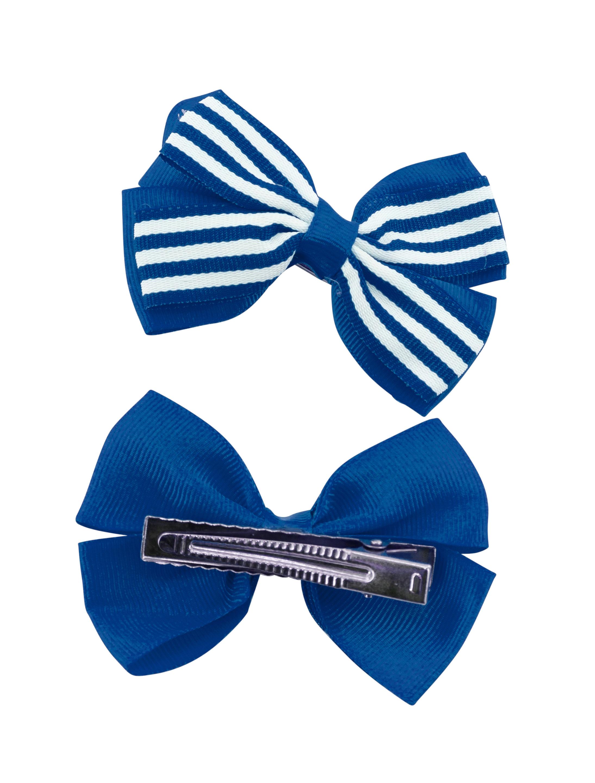 Kostuemzubehor Haarspangen mit Schleife blau/weiss gestreift