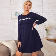 Maternity Fluffy Letter Embroidered Raglan Sleeve Sweatshirt Dress