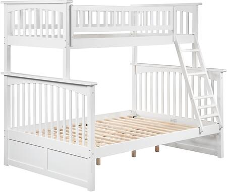 Columbia Collection AB55202 Twin over Full Bunk Bed with Clip on Ladder  Four Steel Connectors  Built-In Modesty Panel  Modern Style and Eco-Friendly