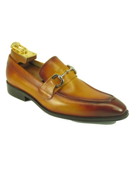 Men's Cognac Leather Fashionable Slip On Style Ombre Shoes