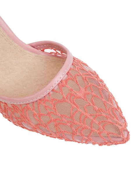 Milanoo High Heel Pumps Womens Nets Pointed Toe Slingback Stiletto Heel Pumps