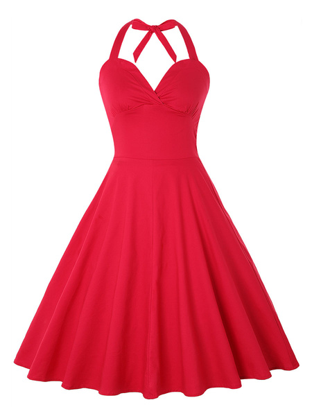 Milanoo Vestido retro Vestido de Rockabilly de mujer sin mangas con cuello en tira de los años 50