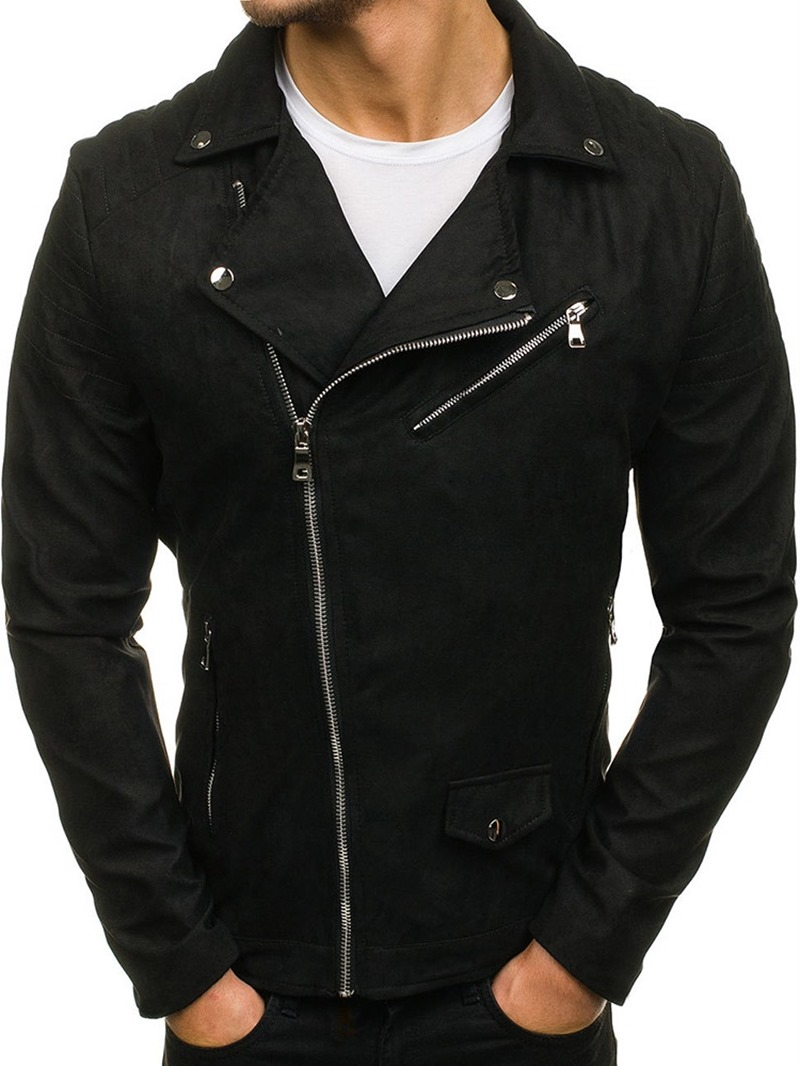 Ericdress Lapel Plain Zipper Style Mens Jacket