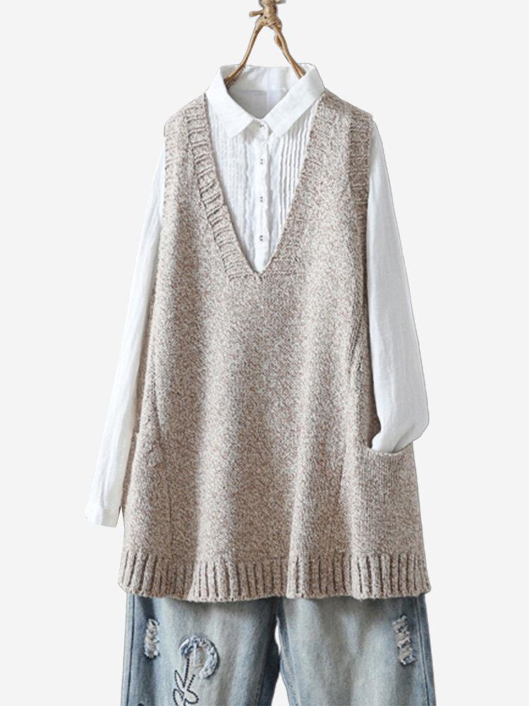 Casual Solid Color V-neck Pockets Vest Knitting Sweater