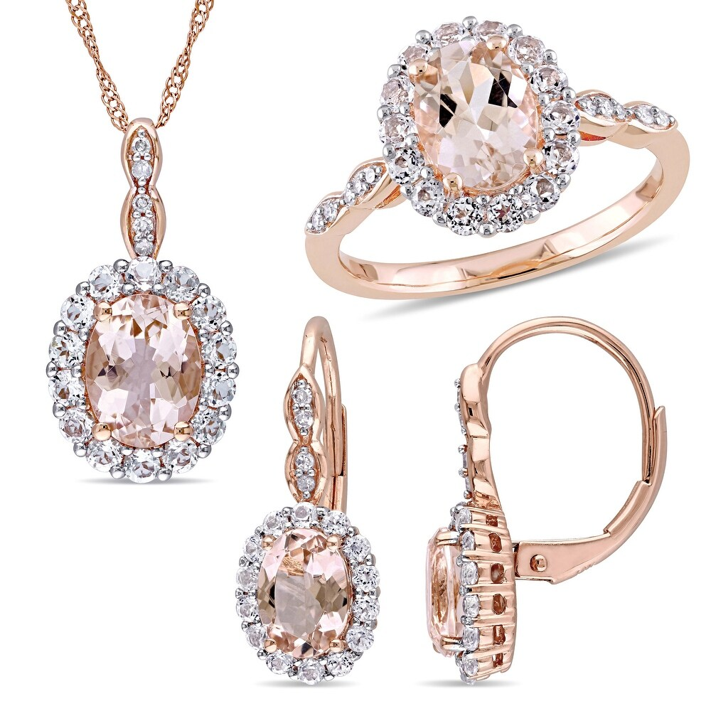 Miadora 14k Rose Gold Oval Morganite, Topaz & 1/10ct TDW Halo Ring, Stud Earrings & Necklace Set (7.5)
