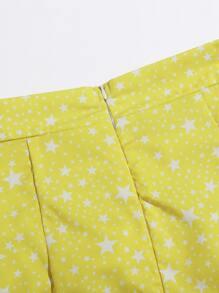 Ruched Drawstring Knot Star Print Skirt