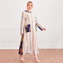 Kleid mit Streifen & Geometrie Muster und Kapuze