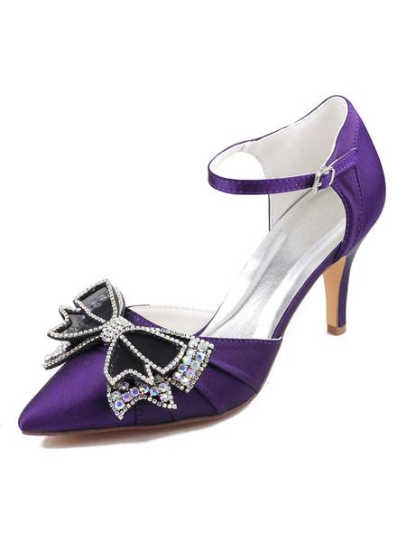Milanoo Zapatos de fiesta de tacon alto de dos partes para mujer Zapatos de tacon de punta estrecha azul marino oscuro Zapatos de noche