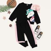 Outfits dos piezas para niña pequeña Volante Dibujos animados Casual