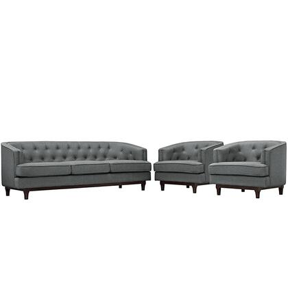 Coast Collection EEI-2448-GRY-SET Living Room Sofa and 2 Armchair Set with Rubberwood Walnut Stained Legs  Dense Foam Padding  Removable Zippered