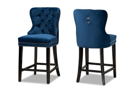WS-F458-26BT-NAVY BLUE VELVET/ESPRESSO-CS Baxton Studio Howell Modern Transitional Navy Blue Velvet Upholstered and Dark Brown Finished Wood 2-Piece