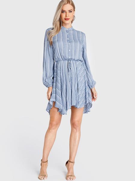 Yoins Black Stripe Front Button Handkerchief Hem Dress