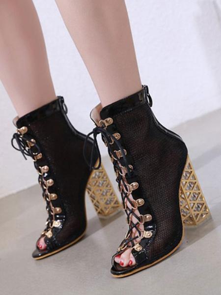 Milanoo Women\'s Black Sandal Boots Lace-up Peep Toe 4.7 Chunky Heel Sandals