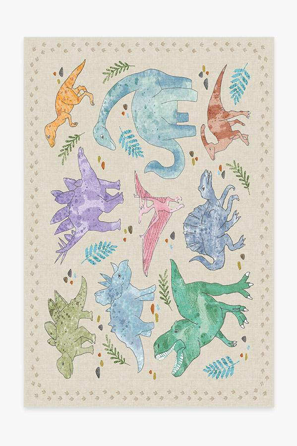 Washable Rug Cover   Dinosaur Parade Multicolor Rug   Stain-Resistant   Ruggable   6'x9'