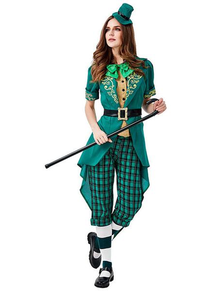 Milanoo Irish Holiday Costumes St.Patrick\'s Day Women Green Texudo Belt Cravat Saint Patrick's Day Costumes