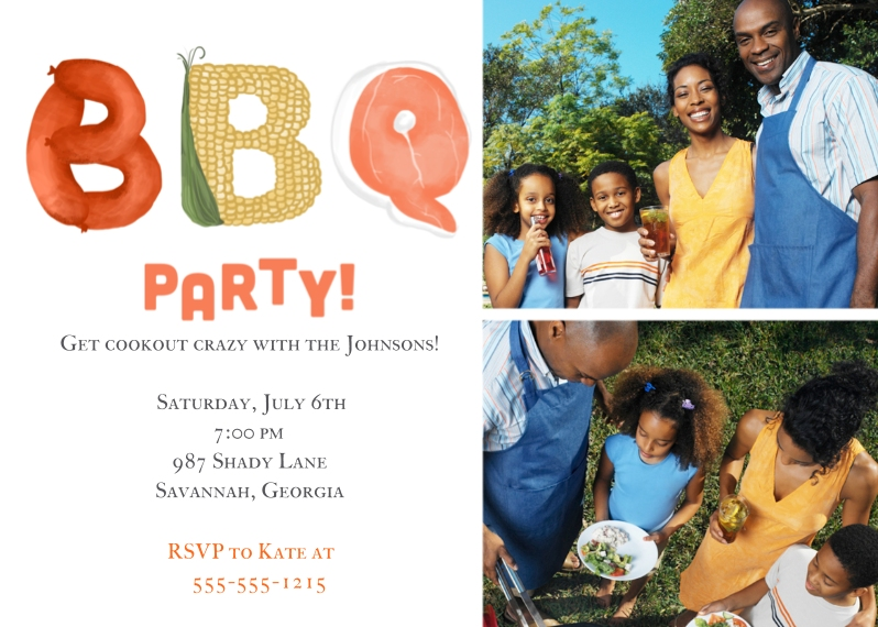 Party Invitations 5x7 Folded Cards, Standard Cardstock 85lb, Card & Stationery -Cookout Crazy