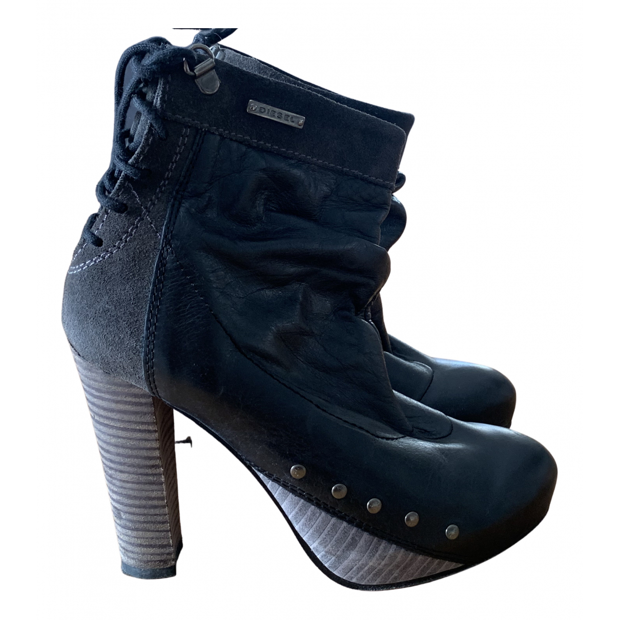 Diesel - Boots   pour femme en cuir - noir