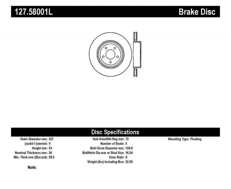 StopTech 127.58001L Sport Drilled/Slotted Brake Rotor; Front Left Jeep Front Left