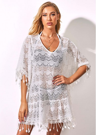 Rosewe Women White Lace Cover Up Tassel Hem Swimsuit Cover Up Three Quarter Sleeve Beach Covers Solid Color Swim Cover Ups - S