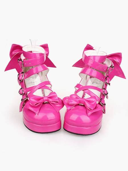 Milanoo Glossy Rose Red Lolita Chunky Heels Shoes Ankle Straps Heart Shape Buckles Bows Decor