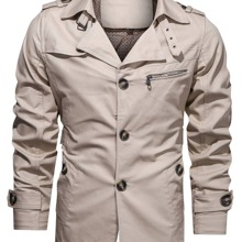 Men Single Breasted Lapel Collar Trench Coat