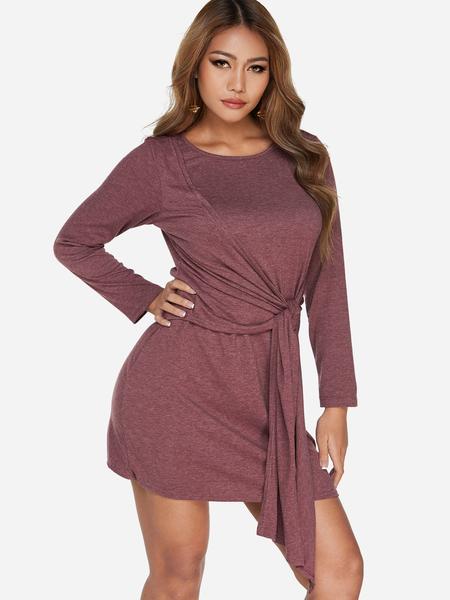 Yoins Burgundy Self-tie Design Plain Long Sleeves T-Shirt Dresses