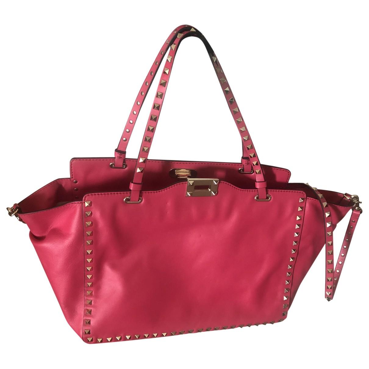 Valentino Garavani - Sac a main Rockstud pour femme en cuir - rose