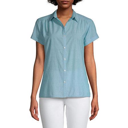 St. John's Bay Womens Short Sleeve Regular Fit Button-Down Shirt, Petite Xx-large , Blue