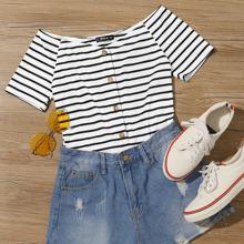 Schulterfreies Strick T-Shirt mit Knopfen vorn und Streifen