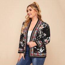 Jacke mit Quasten Detail, Stamm Muster, Stickereien Detail und Blumen Muster