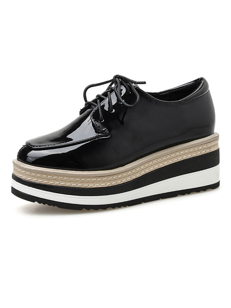 Milanoo Women Oxfords Patent Leather Square Toe Lace Up Wedge Sneakers