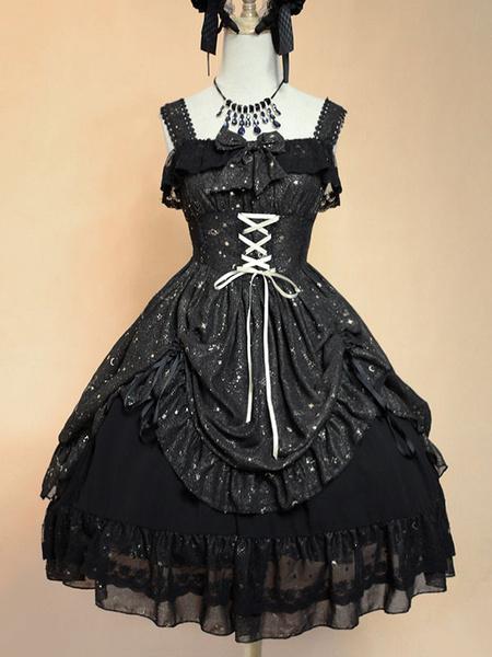Milanoo Sweet Lolita Dress JSK Fly Me To Polaris White Chiffon Bow Ruffled Lace Up Lolita Jumper Skirt Original Design